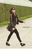 black leather jacket Topshop jacket - black cotton on leggings