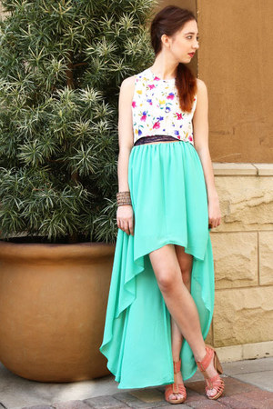 floral high low Lenna Agnes top - high low MM Couture skirt - seychelles heels