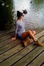 Blue-zara-shorts-brown-ugg-boots-white-h-m-shirt-black-h-m-sunglasses