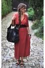 Brick-red-zara-dress-black-marc-opolo-bag-black-zara-sandals