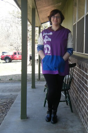 purple re-purposed Love146 hoodie - black ankle thrifted boots