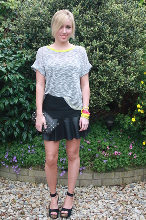 leather Zara skirt - neon trim River Island top