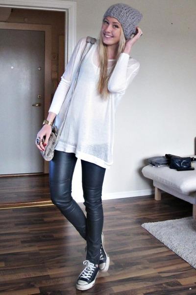 gray Alexander Wang purse - black H&M pants - black Converse shoes