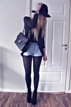 black BikBok hat - black Chanel purse - light blue Vintage Levis shorts - brown