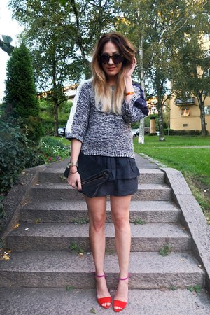 knitted BZR sweater - clutch Alexander Wang bag - IRO skirt - Zara pumps