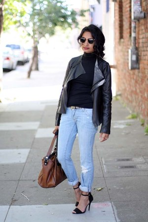 leather Zara jacket - boyfriend LF jeans - Sugarlips shirt