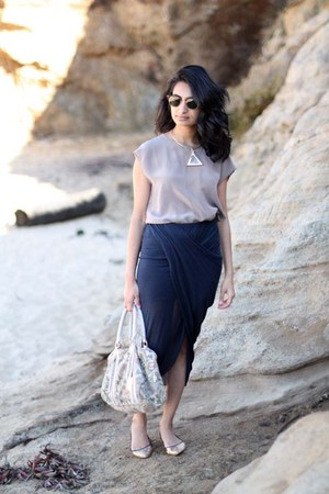 scala Helmut Lang skirt - clubmaster ray-ban sunglasses