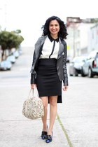 leather Zara jacket - Remi & Emmy bag - pencil Zara skirt