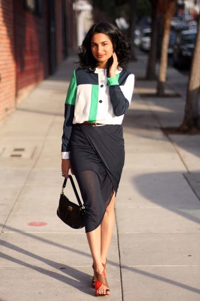 colorblock asos top - Helmut Lang skirt - colorblock Zara heels