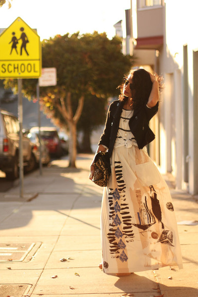 striped Forever 21 skirt - maxi H&M dress