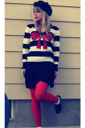 black oxfords thrifted shoes - black knit beret H&amp;M hat - ruby red striped bow F
