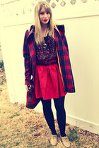 beige oxfords Forever 21 shoes - ruby red plaid modcloth coat - red thrifted bag