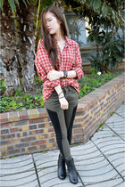 red Devred shirt - black Pomme Passion boots - army green zipia pants