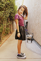 magenta H&M shirt - black pleather Angl skirt - gold apple H&M necklace