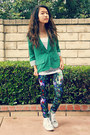 Black-floral-h-m-leggings-green-foreign-exchange-blazer