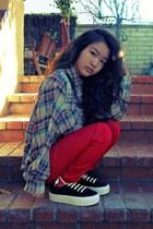 blue plaid Urban Outfitters shirt - red Harajuku mini pants