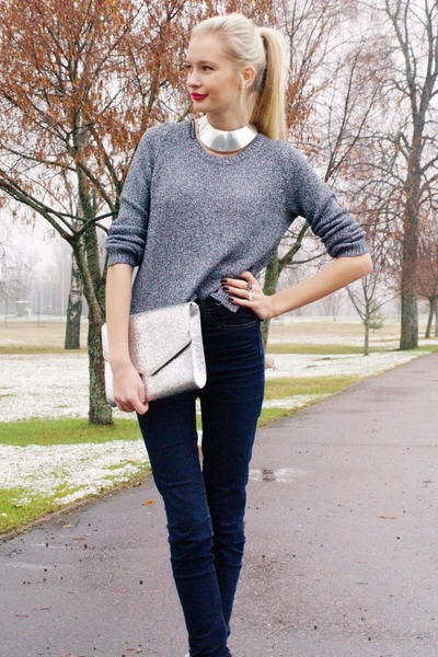silver H&M bag - navy Cubus jeans - violet H&M sweater - silver Cubus necklace