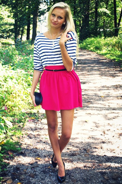 hot pink New Yorker skirt - white Zara shirt - black H&M bag