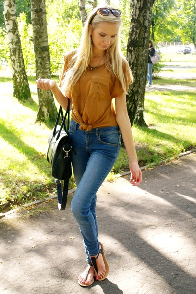 mustard Primark shirt - blue Cubus jeans - black seppala bag