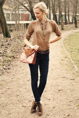 brown Zara blouse - dark brown Primark boots - navy New Yorker jeans