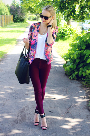 hot pink Quiz Clothing blazer - black H&M bag - maroon H&M pants