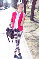 hot pink H&amp;M blazer - black Seppaala bag - black Zara pants - white H&amp;M blouse