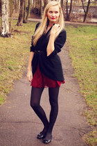 ruby red New Yorker skirt - black H&M tights - black New Yorker cardigan