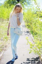 cream H&M sweater - cream Arafeelcom bag - light blue H&M pants