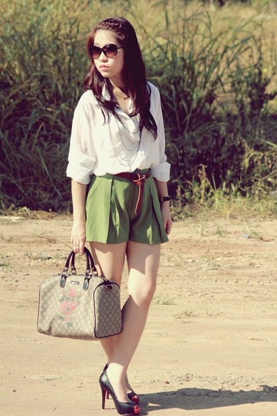 white vintage shirt - green vintage shorts - gray Gucci - black Christian Loubou