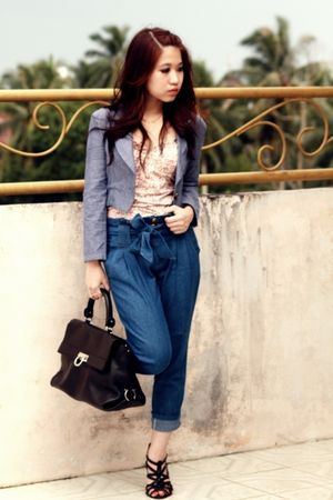 black Salvatore Ferragamo bag - blue cropped denim unknown brand jacket