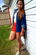 ivory Target shoes - blue Goodwill jacket - red shorts - white west 49 top