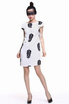 White Peacock Silk Crepe Dress, Feather Prints, 100% Silk, Elegant Dress