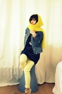 Navy-denim-levis-jacket-yellow-hat-scarf-hermes-scarf