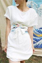 Japanese Kimono Fan Floral Print Chiffon Dress with Belt