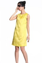 Light Mustard Silk Satin Dress-60's Mod