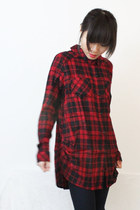 black red tartan high-low cotton loose-fit shirt