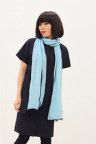 Light Blue Chiffon Scarf, Sweet Streets, Spring Summer Scarf