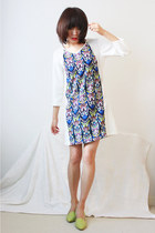 Geometric Print Split Joint Crepe Dress-White