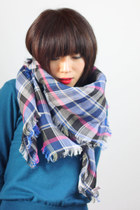 Blue Black Pink Checked Tartan Linen Scarf
