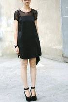 Black Transparent Net Sleeves Simple Dress