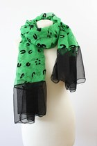 Green or Black Leopard Print Lightweight Long Scarf SZ03-13