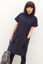 Navy Minimalist Constructed Straight Shirt Coat Dress