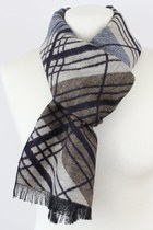 Grey Plaid Print Warm Wool Scarves