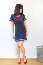 Navy Blue Mini Dress with Oriental Butterfly Embroidery C07