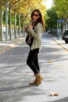 light brown Zara boots - black Zara shirt - olive green Mango sunglasses
