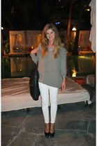 white gold zip Zara pants - heather gray angora All Saints sweater
