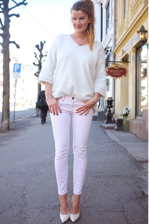 denim CurrentElliot jeans - angora knit H&amp;M sweater