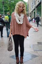 dark brown Zara boots - cream H&M scarf - brown Zara bag - black pieces pants