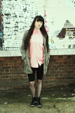 pink pink and long vintage shirt - olive green military Primark jacket