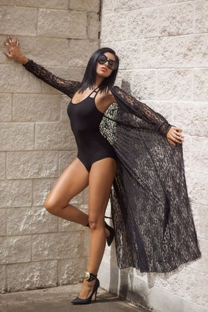 black lace cape - black heels